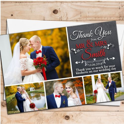 10 Personalised Premium Wedding Thank you Photo Cards N260
